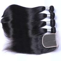 Malaysisches menschliches haar mit schließung unverarbeitete menschliche haare mit spitze schließung 4 stücke pro los malaysisches gerades haar mit schließung