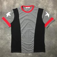 2017 nuovi polsini di modo bianco a cinque stelle stampato t-shirt estate trendy uomo manica corta T-shirt abbigliamento