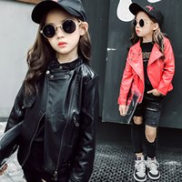Everweekend Girls Vintage Pu Leather Jackets Zipper Red and ...