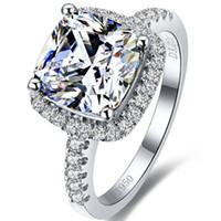 7 * 7 ملليمتر 18 كيلو الذهب الأبيض مطلي 2ct وسادة الماس الدائري للنساء الاسترليني والفضة والمجوهرات هالة وسادة مجوهرات الفاخرة هالة الدائري الإناث