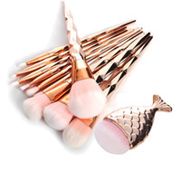 11pcs set Mermaid Fish Tail Makeup Brushes Diamond Rose Gold...