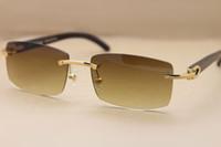 Famoso diseñador de la marca Sunglassses Genuino negro Natural gafas de cuerno de búfalo sin montura gafas de sol 3524012 para hombres mujeres con caja original
