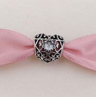 Abril Signature Heart Birthstone Charm 925 Leads Siling Silver Fits European Pandora Style Jewelry Pulseras Collar 791784RC