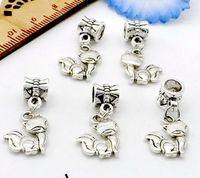 100 pcs / lot tibétain argent alliage fox renard charmes balancent perles ajustement pendentif européen bracelet fabrication de bijoux bricolage 25x12mm trou 4mm
