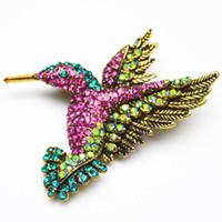 Commercio all'ingrosso- Vendita calda Nuova moda Hummingbird Brooches per le donne stile coreano colorato strass spilla spilla elegante gioielli partito buon regalo