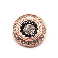 3pcs lot New Snap Button Jewelry Rose Gold Round Crystal Sna...