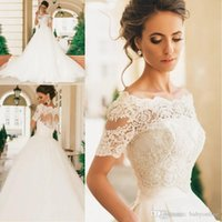 Robe De Mariage Elegant Short Sleeves Wedding Dresses Lace A...