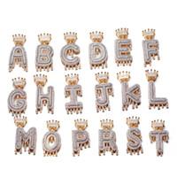 Encargo de la corona de goteo Iniciales burbuja Letters Collares colgante para mujeres de los hombres de circón cúbico de Hip Hop joyería con cadena de la cuerda 20inch