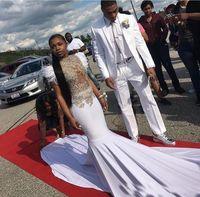 2018 robes de soirée magnifiques sirène africaine dentelle Appliques satin plume robes de soirée de bal Custom Made Sexy mariages Invité tapis rouge