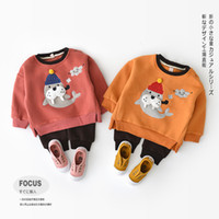 Baby clothing two piece sets round collar long sleeve seal d...
