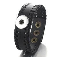 Boom Life 23см Weave Snap Кожаные браслеты подходят 18 мм привязки ювелирных изделий Урожай богемный браслет для женщин PU CHARMS 040118