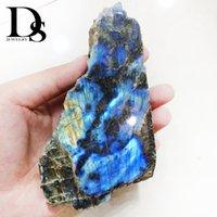 Naturalny Klaska Labradorite Slice Szorstki Kryształ Moonstone Crystal Surowy Iryzujący Kwarcowy Minerały Próbka Rainbowstone Healing Reiki