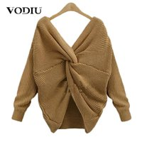 Vodiu Sweater Female Knitted Sweater Women Jumper Pullover Long Sleeve Twisted V Neck Solid Fashion Warm New Year Designer Hot