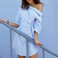 Art und Weise eine Schulter-Blau-gestreifte Frauen-Hemd-Kleid-reizvolle Seite aufgeteilte elegante halbe Hülsen-Bund-beiläufige Strand-Kleider en gros