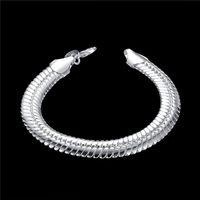 ¡Regalo de bodas! Pulsera de serpiente plana de 10m - ME 925 pulsera de plata jspb231, bestia regalos hombres y mujeres plata esterlina plateado cadena enlace pulseras