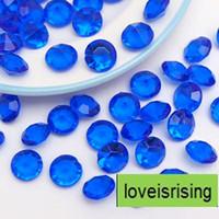 1000 unids / lote 10 mm (4 quilates) Aqua Blue Diamond Confetti Faux acrílico grano mesa Scatter favores de la boda decoración del partido