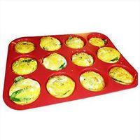 卸売12カップシリコーンマフィンカップケーキベーキングパンスティックシリコーン金型食器洗い機の電子レンジのセーフバーベキュートレイカップケーキベーキングパン