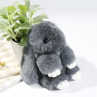 Cute Mini Rabbit Toy Doll Real Fur Monster Keychains 100% Re...