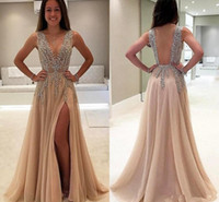 Champagne Sexy Side Split Prom Dresses Luxury Beads Crystal ...