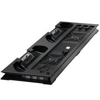 USB Dual Kühlventilatoren Ladestation Vertikal Ständer Halter für Sony PS4 Pro Konsole Kühlsystem Mehrere Hub Hohe Qualität SCHNELLES SCHIFF