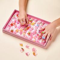 PandaHall 100pcs / caixa de jóias Dia de plástico crianças anel da menina Resina Anéis Mixed Presente Estilo Fruit Gift animal bonito das crianças