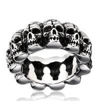 Hombres de alta calidad exagerados Retro Punk anillo del cráneo anillo de acero inoxidable joyería de acero de titanio anillo de Halloween envío gratis