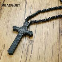 Meaeguet 큰 나무 천주교 예수님 나무 십자가와 교차 묵주 펜던트 Long Collier 성명 목걸이 목걸이 남성 보석