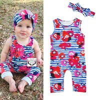 Baby Girls Vest Rompers Flora Rose Printed Striped Sleeveles...