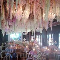 Новое поступление элегантная искусственная Гиданжа Шелковый цветок виноградная лоза Главная настенная Глициния гирлянда 14 цветов доступны для свадебного рождественского украшения