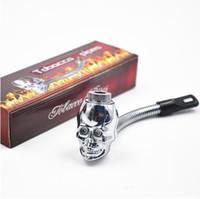Tuyau métallique en forme de crâne LED 3 couleurs propriété métal flexional Tuyaux à tabac Tuyau en reggae avec cigarette Rasta