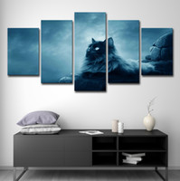 Toile Mur Art Photos HD Prints Salon Home Decor 5 Pièces Animal Chat Noir Peintures Abstraites Modernes