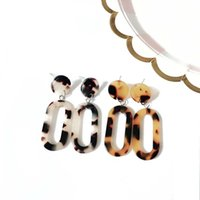Free Shipping Geometric Leopard Print Two Colors Simple Lightweight Fashion Party Elegant Stud Earring For Women