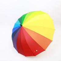 Venta caliente 100 unids / lote Arco Iris Paraguas Gran Mango Largo Recta Colorida Paraguas Hombre Mujer Paraguas Soleado y Lluvioso