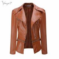 Young17 Куртки из искусственной кожи Женская байкерская куртка Autunm Winter Army Green цвета хаки Черно-коричневая молния ПУ пальто Мотоциклетная верхняя одежда