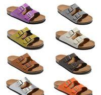 Männer Flache Sandalen Frauen Casual Schuhe Doppelschnalle Berühmte Marke Arizona Sommer Strand Top-qualität Aus Echtem Leder Hausschuhe Mit Orignal Box