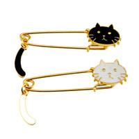 여성 선물 쥬얼리 20 PCS 긴 안전 핀 브로치 귀여운 고양이 에나멜 브로치 히잡 핀 스카프 클립