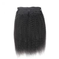 Человеческий клип в наращивание волос 9 шт. бразильский грубый Яки клип в наращивание волос 120 г кудрявый прямые волосы