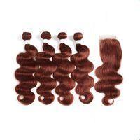 어두운 적갈색 처녀 인간의 머리 직조 폐쇄 # 33 구리 레드 브라질 인간의 머리 번들 상품 바디 웨이브 레이스 폐쇄 4x4