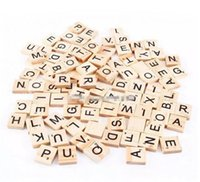 100pcs set Wooden Alphabet Scrabble Tiles Black Letters & Nu...
