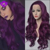 Marquesha Gerçekçi uzun koyu mor Renk dantel ön peruk Doğal Görünümlü Yüksek Sıcaklık Fiber Kadınlar Için Sentetik Dantel Ön Peruk