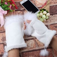 Women Faux Rabbit Fur Gloves Girl Wrist Warmer Ladies Finger...