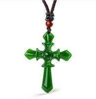 Gecertificeerd 100% Natural Hetian / Afghan Jade Gesneden Kruis Hanger Ketting Charm Sieraden / Sieraden Amulet Lucky