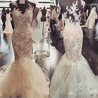 Real Image Full Lace Applique Mermaid Wedding Dresses Coutur...