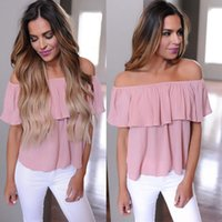 Summer Women Sexy Blouse Casual Loose Ruffle Off Shoulder To...