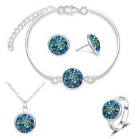 Mode druzy drusy örhängen halsband armband 12mm harts sten halsband örhängen ring och armband smycken set