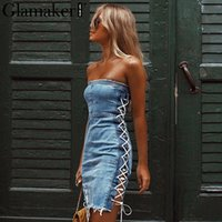 Lace Up Strapless Sexy Denim Dress Elegant Short Mini Party ...
