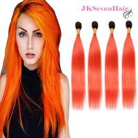 Ombre Virgin Brasilianische Natürliche Gerade Remy Human Hair Extensions 4 Bundles Deal 1b Orange Zwei Ton Dunkelwurzel Indische Malaysische peruanische Weave Doppelfette