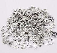100 teile / los Silber Überzogene Gemischte Vintage Große Loch Lose Perlen Europäischen Anhänger fit Pandora charms Für Armband diy Schmuck, der erkenntnisse