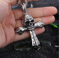 Cool Large Biker 316L Stainless steel Skeleton skull Cross P...