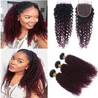 곱슬 곱슬 컬리 1B / 99J Burgundy Ombre 4x4 레이스 클로저 (번들 포함) 말레이시아 와인 Red Ombre Virgin Human Hair Weaves 3 묶음